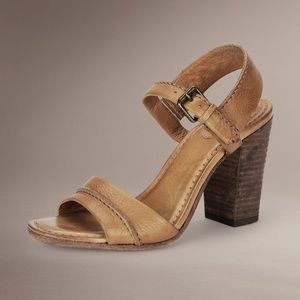 Frye Portia Leather Ankle Strap Sandal camel brown
